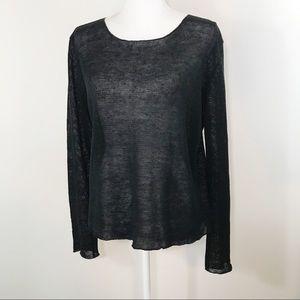 Eileen Fisher Black Linen Sheer Layering Sweater